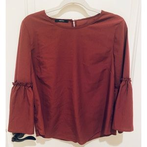 Burgundy Blouse with Bell Sleeves